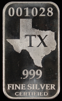 """1 Troy Ounce .999 Fine Silver """"Texas"""" Bullion Bar"""