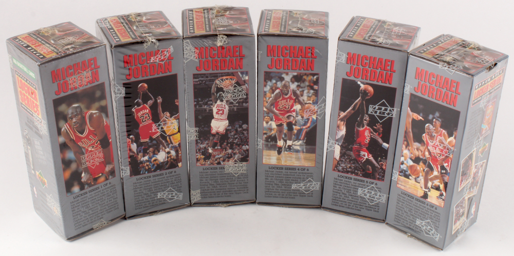 Lot of (6) LE 1991-92 Upper Deck Michael Jordan Locker Series Complete Set Basketball Card Boxes at PristineAuction.com