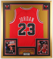 Michael Jordan Chicago Bulls 32x36 Custom Framed Jersey Display with (5) Championship Pins at PristineAuction.com