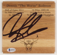 Dennis Rodman Signed Chicago Bulls 6x6 Custom Engraved Wood Floorboard Piece (Beckett COA) at PristineAuction.com
