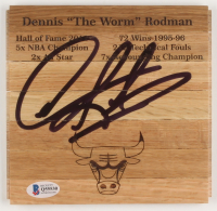 Dennis Rodman Signed Chicago Bulls 6x6 Custom Engraved Wood Floorboard Piece (Beckett COA) at PristineAuction.com