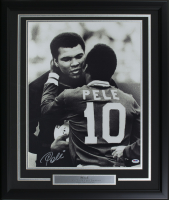 Pele Signed Team Brazil 22x27 Custom Framed Photo Display (PSA COA) at PristineAuction.com
