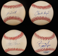 Lot of (4) Signed Philadelphia Phillies Baseballs with Brett Myers, Bob Boone, Lenny Dykstra, & Charlie Hayes (SOP LOA)