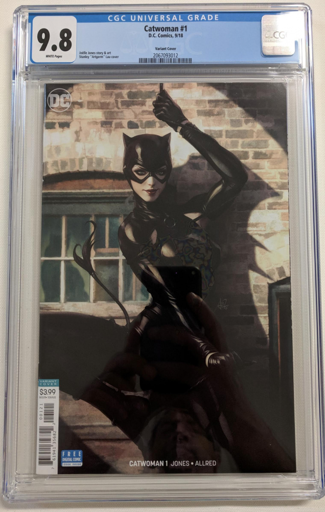 "2018 ""Catwoman"" Issue #1 Stanley 'Artgerm' Lau Variant DC Comic Book (CGC 9.8) at PristineAuction.com"