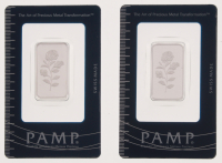 Lot of (2) Certified PAMP 999.0 Solid Silver 10 Gram Bars