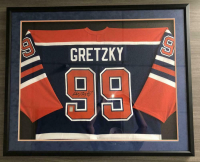 Wayne Gretzky Signed Edmonton Oilers 32x36 Custom Framed Jersey Display (Gretzky COA)