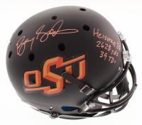 "Barry Sanders Signed Oklahoma State Cowboys Matte Black Full-Size Helmet Inscribed ""2628 Yds,"" ""39 TDs"" & ""Heisman 88"" (Schwartz COA)"
