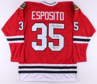 """Tony Esposito Signed Jersey Inscribed """"HOF 1988"""" & """"ROY 70"""" (JSA COA)"""