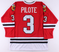 "Pierre Pilote Signed Jersey Inscribed ""H.O.F. 75"" (JSA COA) at PristineAuction.com"