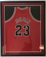 Michael Jordan Signed Chicago Bulls 32x36 Custom Framed Jersey (UDA COA)