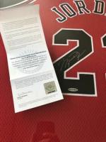 Michael Jordan Signed Chicago Bulls 34x42 Custom Framed Jersey (UDA COA) at PristineAuction.com