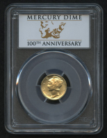 2016-W Gold Mercury Dime 1/10 Oz Gold Coin - FIrst Strike (PCGS SP 69) (100th Anniversary Label) at PristineAuction.com