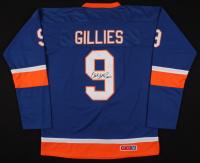 """Clark Gillies Signed New York Islanders Jersey Inscribed """"HOF 02"""" (JSA COA)"""