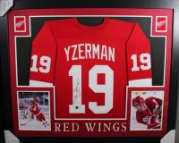 Steve Yzerman Signed 35x43 Custom Framed Jersey Display (JSA COA)