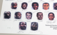 """NBA 50 Greatest Players"" 32x45 Custom Framed AP Lithograph Signed by (50) with Pete Maravich, Michael Jordan, Shaquille O'Neal, Wilt Chamberlain, Larry Bird (Field of Dreams COA) at PristineAuction.com"