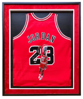 Michael Jordan Signed 33x42 Custom Framed Jersey With Original Hand-Painted Portrait (UDA Hologram) at PristineAuction.com