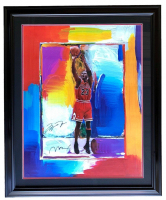 "Michael Jordan & Peter Max Signed ""The Last Shot"" 28x36 Custom Framed Lithograph (UDA Hologram & JSA LOA) at PristineAuction.com"