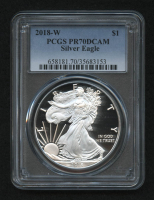 2018-W $1 American Silver Eagle $1 One-Dollar Coin (PCGS PR70 Deep Cameo) at PristineAuction.com
