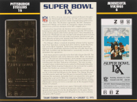 Super Bowl IX Commemorative Score Card with 23kt Gold Ticket at PristineAuction.com