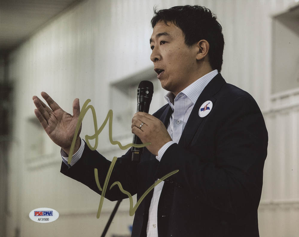 Andrew Yang Signed 8x10 Photo (PSA Hologram) at PristineAuction.com