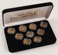 Set of (9) Pittsburgh Steelers World Champions 24K Gold Plated & Colorized Pennsylvania Quarters