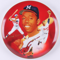 Hank Aaron Signed Atlanta Braves Porcelain Plate (Hackett Authentic)