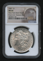 1887 Morgan Silver Dollar - New York Bank Hoard From U.S. Treasury Bag Label (NGC MS66) at PristineAuction.com