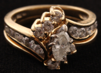 14Kt Yellow Gold Dimond Bridal Set at PristineAuction.com