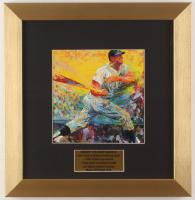 "LeRoy Neiman ""Mickey Mantle"" 12.5x13 Custom Framed Print Display"