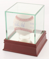Carlton Fisk Signed OML Baseball with (4) Career Stat Inscriptions with Display Case (PSA COA)