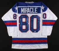 Team USA Jersey Team-Signed by (17) with Jim Craig, Mike Eruzione, Ken Morrow (JSA COA) at PristineAuction.com