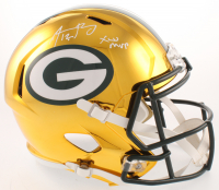"""Aaron Rodgers Signed Green Bay Packers Full-Size Chrome Speed Helmet Inscribed """"XLV MVP"""" (Fanatics Hologram)"""