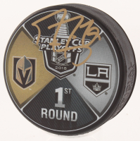 Marc-Andre Fleury Signed 2018 Vegas Golden Knights Staley Cup Playoffs Logo Hockey Puck (Beckett Hologram) at PristineAuction.com