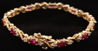 14Kt Yellow Gold Ruby & Diamond Bracelet at PristineAuction.com