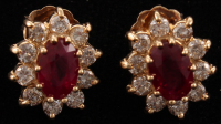 14Kt Yellow Gold Ruby & Diamond Earrings at PristineAuction.com