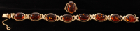 14Kt Yellow Gold Amber Ring & Bracelet Set at PristineAuction.com