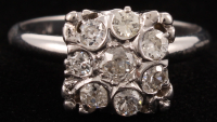 Vintage Platinum Diamond Cluster Ring at PristineAuction.com