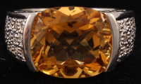 14Kt White Gold Citrine & Diamond Ring at PristineAuction.com