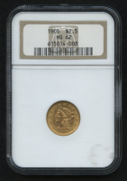 1905 $2.5 Liberty Head Half Eagle Gold Coin (NGC MS 62) at PristineAuction.com