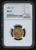 1901 $5 Liberty Head Half Eagle Gold Coin (NGC MS 62) at PristineAuction.com