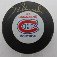 Henri Richard Signed Canadiens Logo Hockey Puck (UDA Hologram)