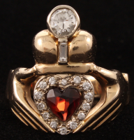 14kt Yellow Gold Garnet & Diamond Claddagh Ring at PristineAuction.com