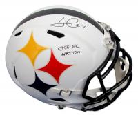 "James Conner Signed Pittsburgh Steelers Full-Size AMP Alternate Speed Helmet Inscribed ""Steeler Nation"" (Fanatics Hologram)"