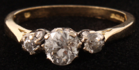 18Kt Yellow Gold Three Stone Diamond Ring at PristineAuction.com