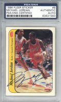 Michael Jordan Signed 1986-87 Fleer Stickers #8 Rookie Card (PSA Encapsulated & UDA Hologram) at PristineAuction.com