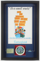 "Disneyland Fantasyland's ""It's A Small World"" 16.5x25.5x2 Custom Framed Shadowbox Display with Vintage Ticket & Pin at PristineAuction.com"