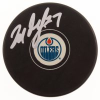 Milan Lucic Signed Edmonton Oilers Logo Hockey Puck (JSA COA) at PristineAuction.com