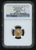 2015 $5 Five Dollars American Gold Eagle Saint-Gaudens - 1/10 Oz Gold Coin - FIrst Releases - Wide Reeds (NGC MS 70) at PristineAuction.com