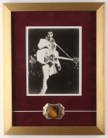 Elvis Presley 14x18 Custom Framed Photo Display with Commemorative Elvis Brass Souvenir at PristineAuction.com