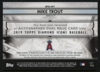 2019 Topps Diamond Icons Dual Relic Autographs #SPDMT Mike Trout #3/10 at PristineAuction.com